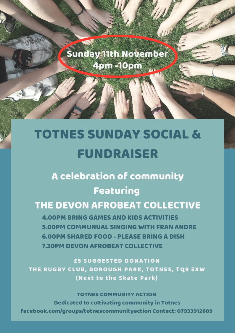 TOTNES SUNDAY SOCIAL AND FUNDRAISER red circle